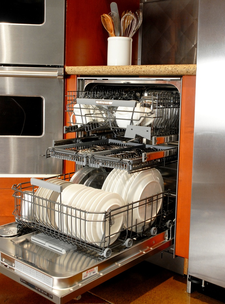 """Asko D5644XLCS Dishwasher    Exclusive lower rack accomodates:  - 10 3/4"""" dishes, up to 13 3/4"""" with middle rack  removed  - Fold-down tines for storage flexibility  - Wide tine design for large bowls and platters  - Upper & lower rack handles"""