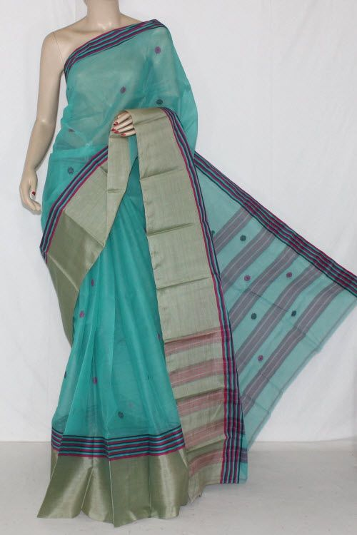 Exclusive Light Green Handwoven Bengali Tant Cotton Saree (With Blouse) Munga Border 14221