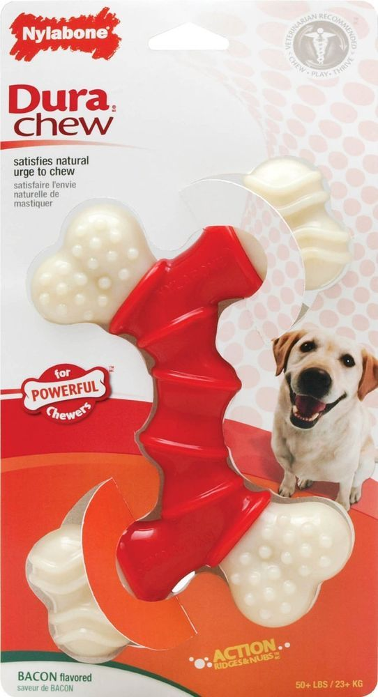 Nylabone Dura Chew Souper Dog Chew Toys Dog Chew Bones Bacon XLarge Dog Supplies #Nylabone