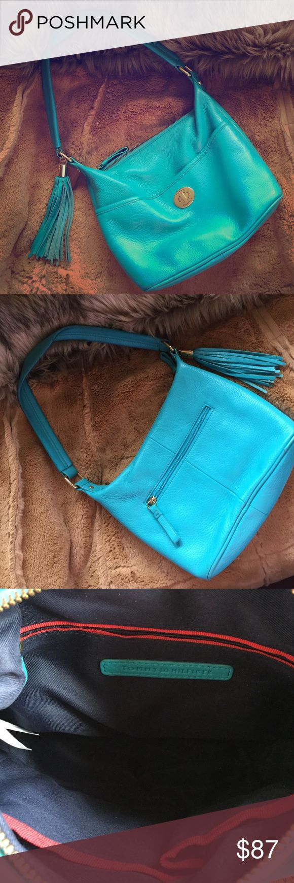 Tommy Hilfiger Bag Turquoise Genuine Leather GUC inside very clean and zipper works fine.  Check out the Tommy Boots and receive a bundle discount! Tommy Hilfiger Bags Shoulder Bags