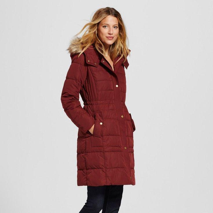Women's Puffer Coat With Faux Fur Trim Berry Xxl - Merona, Crisp Berry