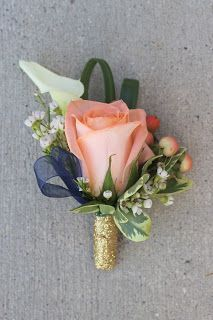 Groom's Boutonniere: Peach Rose, Coral Hypericum Berries, White Calla Lily, White Wax Flower, Lily Grass with Glitter Gold and Navy Details // Celebration Flair