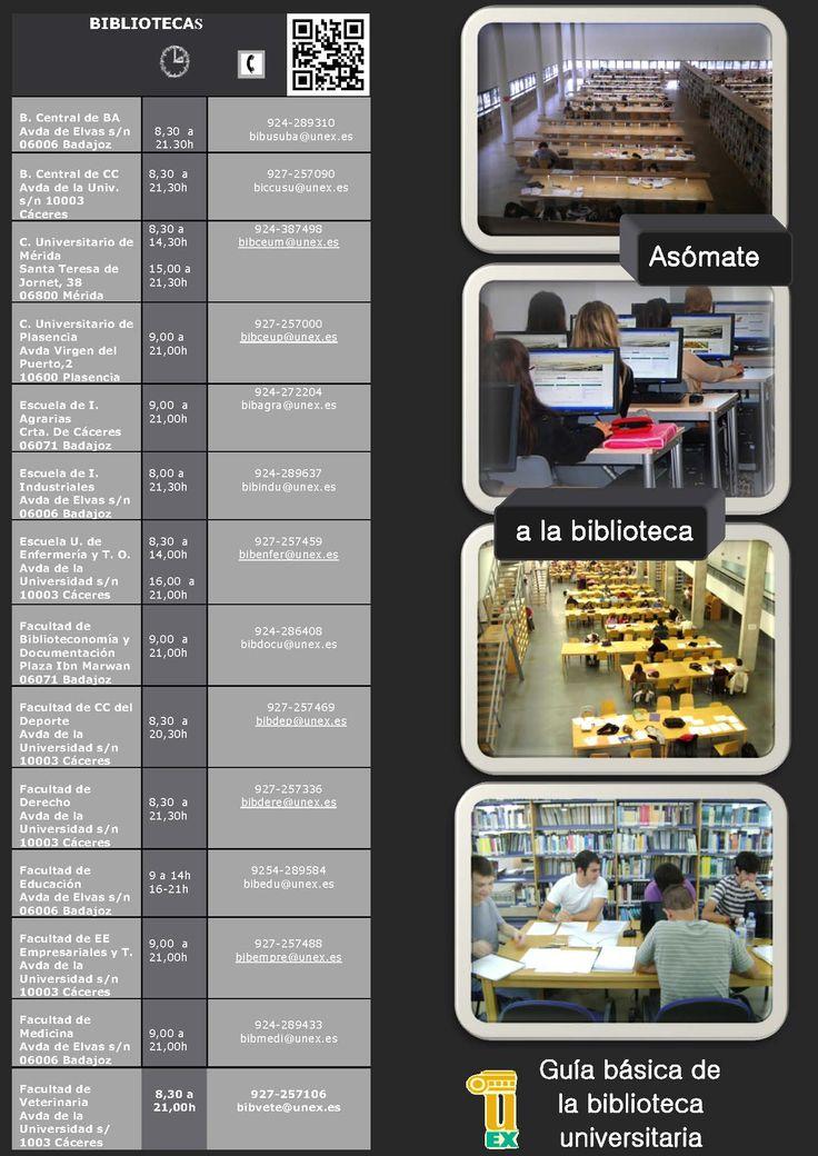 Guía díptico de la biblioteca universitaria de Extremadura: información básica de los servicios de la biblioteca uex. #uex #biblioteca #extremadura #guía