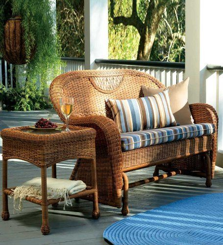 Prospect Hill Outdoor Resin Wicker Furniture Love Seat Glider Cushion, In  Chocolate Stripe By Plow