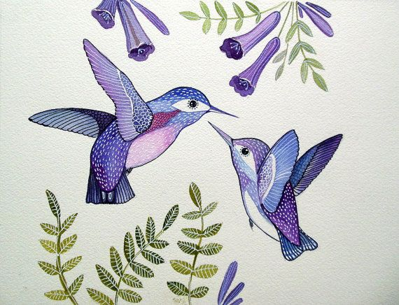 Purple Humming Birds / Bird Art / Floral / Art by sublimecolors