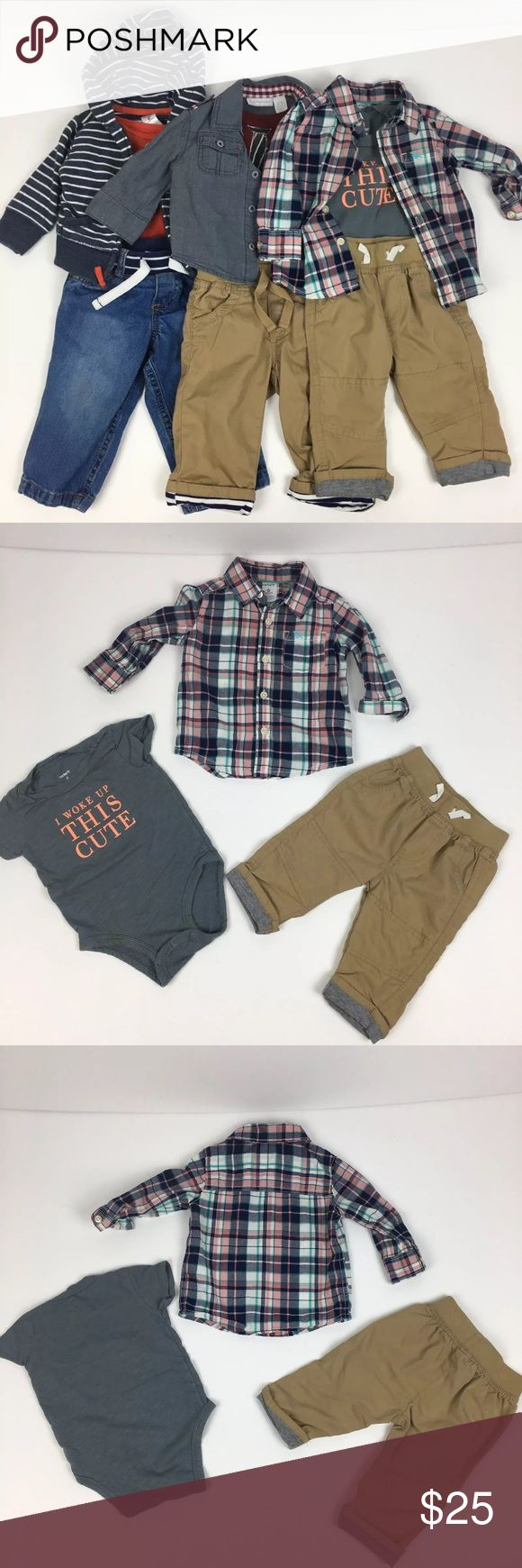 """Lot Of Baby Boy Outfits Carter's Old Navy 3-6 mos All in gently used condition - some have light stains, please see individual pics and let me know if you have any questions.   1 Carter's Striped Fox hoodie 6 mos  1 Carter's orange onesie 6 mos  1 Carter's stretch band blue jeans 9 mos  1 First Impressions chambray button down top 3-6 mos  1 Circo tie onesie 3-6 mos  1 Circo khaki cargo pants 3-6 mos  1 Carter's plaid button down top 6 mos  1 Carter's """"I woke up this cute"""" onesie 6 mos  1…"""
