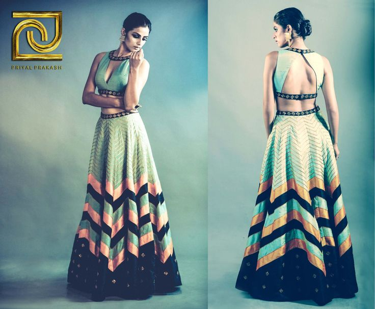 Stunning Priyal Prakash Mint Green Zigzag #Lehenga With Cut-Out #Blouse.