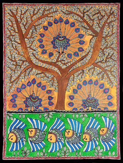Madhubani Painting from India - Mayura Tree of Life | NOVICA