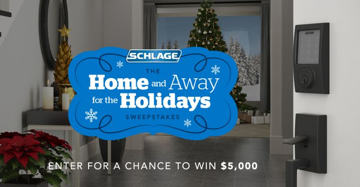 Enter the Schlage Home And Away Sweepstakes. Enter here:  http://swee.ps/kwhMEpqy Win 5,000 G/C, Home DePot/Lowe's!