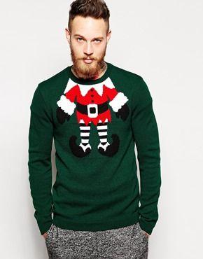 ASOS Christmas Jumper with Elf Design