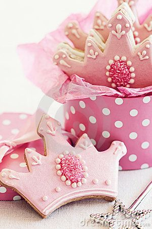 Pink and White Crown Cookies