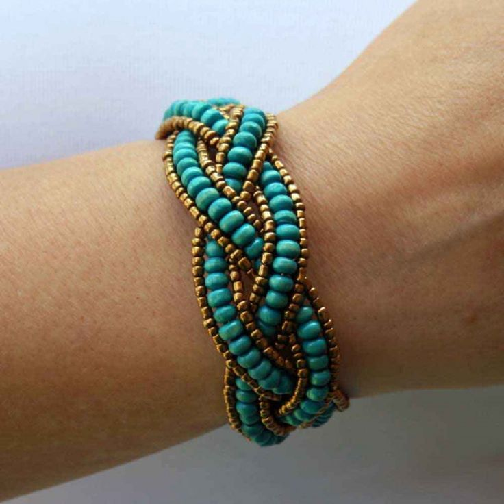 images of handmade beaded bracelets | Beaded Bracelet with Turquoise Wooden Beads