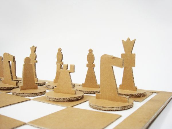Cardboard Chess Set by Nadya Dundere