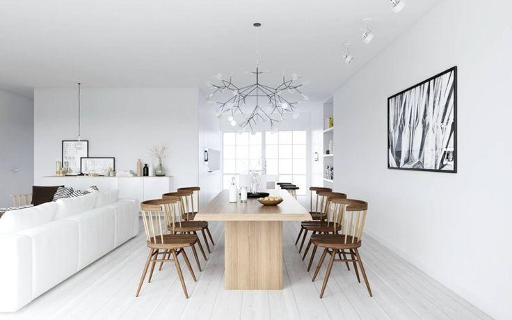 weißer Parkettboden und Esszimmermöbel aus Holz
