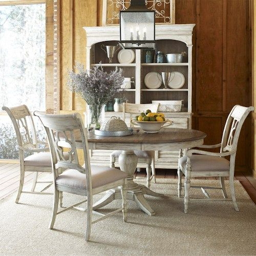 Kincaid Furniture Weatherford 5 Piece Dining Set with Pedestal Table and Quatrefoil Back Chairs