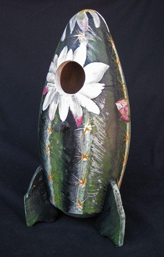 ROCKET CACTUS BIRDHOUSE Southwestern Theme by KrugsStudio on Etsy, $69.99