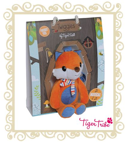 Tiger Tribe Twiggies Frddy Fox Musical. The perfect gift for newborns, our lovely woodland Twiggies are designed to comfort. Send your little one to sleep with the sweet song of Freddy Fox. Musical toys come with handy velcro straps to attach easily and safely to prams, cots or car-seats. Suitable for ages 0+  $29.95