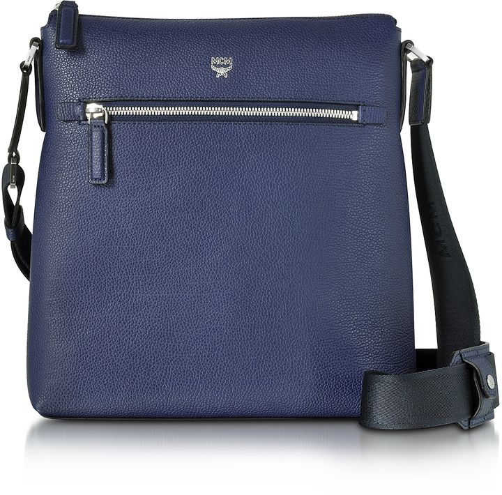 MCM Ottomar Pistol Blue Grain Leather Small Messenger Bag