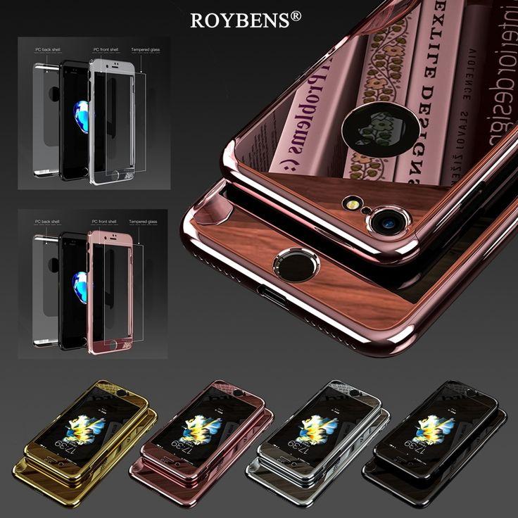 Roybens cho iphone 7 case kim loại sang trọng da gương 360 độ case cho iphone 6 6s 7 cộng với full body bìa glass bảo vệ màn hình