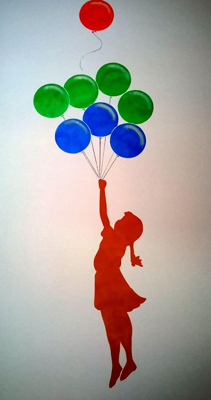 Bambina con Palloncini - stencil per una cameretta