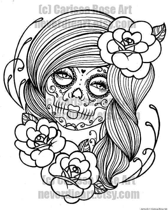 digital download print your own coloring book outline page day of the dead tattoo flash - Tattoo Coloring Books
