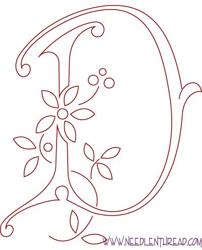 Monogram for Hand Embroidery: Letter D – Needle'nThread.com