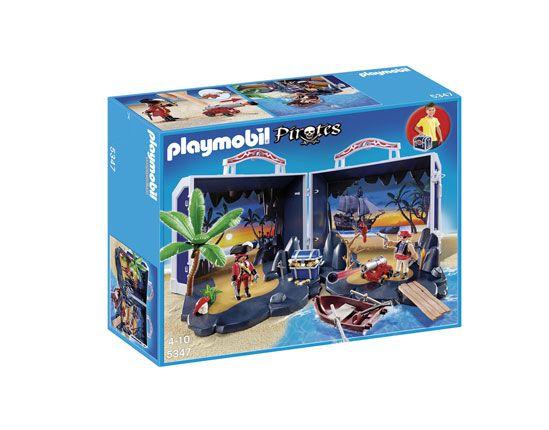 #Playmobil cofre del tesoro de los #piratas. Viene en un maletín con una llave y al abrirlo surge la gran isla de los piratas. Incluye un montón de cosas.