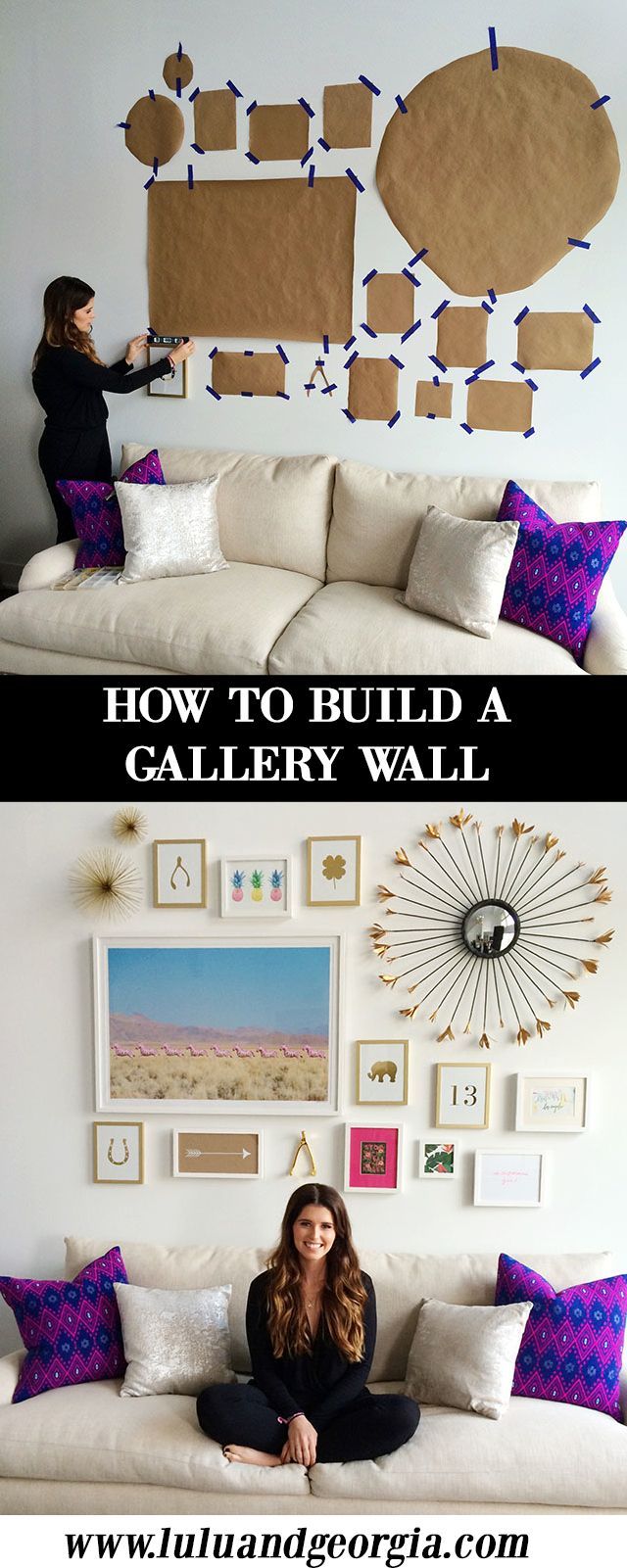 "HOW TO: Building a Gallery Wall. 1. Choose larger pieces as anchors. 2. Choose a color scheme. 3. Play with scale - vary the size and orientation of the art. 4. Keep at least 1.5"" - 3"" between each piece. 5. Allow at least 6"" between the couch and the first frame. 6. Use 2 to 3 styles of frames. 7. Use different mediums of art - photography, art prints, gift wrap, decorative objects, etc."