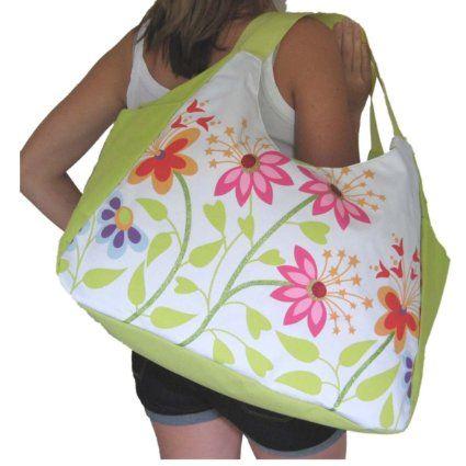 Beach Bag - Bolsa de playa, mujer, verde, flores (33 x51 x23 cm)