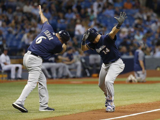 Aug. 5: The Milwaukee Brewers' Hernan Perez (14) is