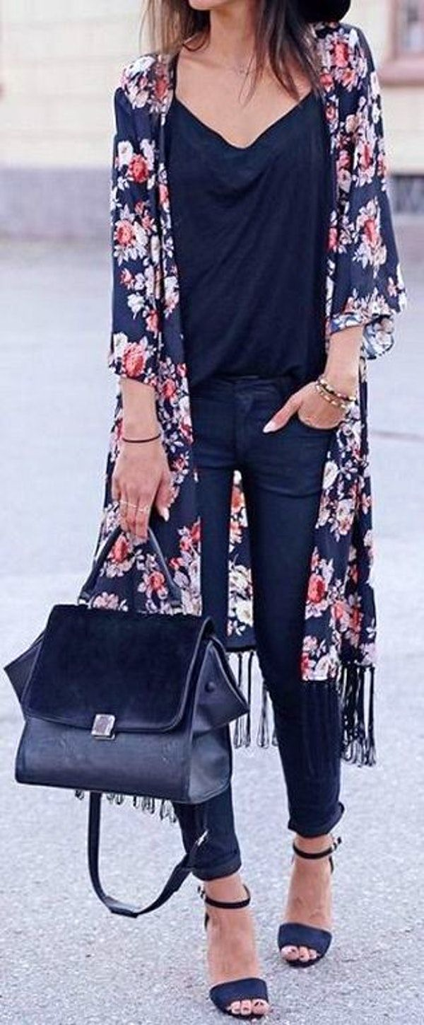 #fall #outfits women's black and red floral cardigan