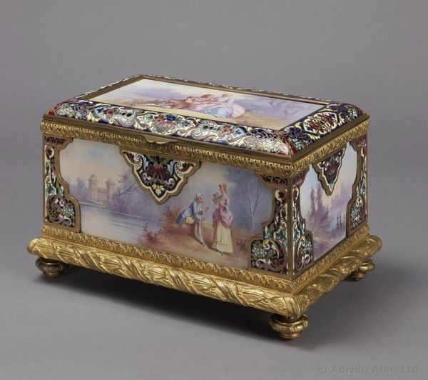 OnlineGalleries.com - An Exquisite Champlevé Enamel and Porcelain Table Box