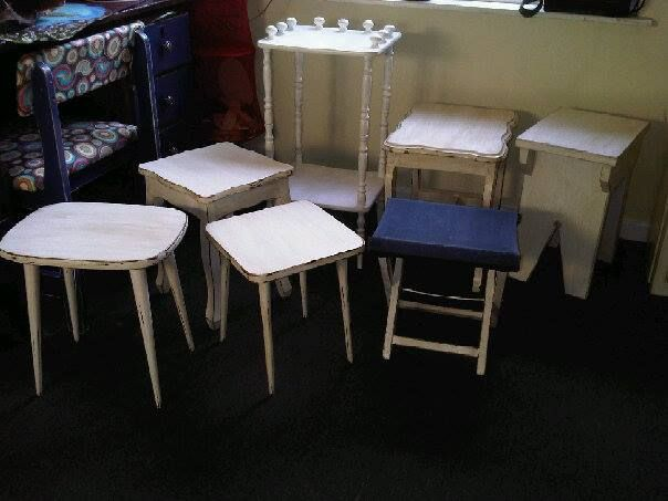 Range of individual Antique Oak and Pine Stools, Side Tables and small Shelves in unique  shapes all in perfect condition, painted in antique white with shabby chic finish.  To view more items please visit my Facebook pages at: http://www.facebook.com/ArmstrongHomeDecor