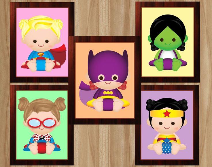 Digital 10 Prints Girl Superhero Nursery Girl by GraphicsByColton