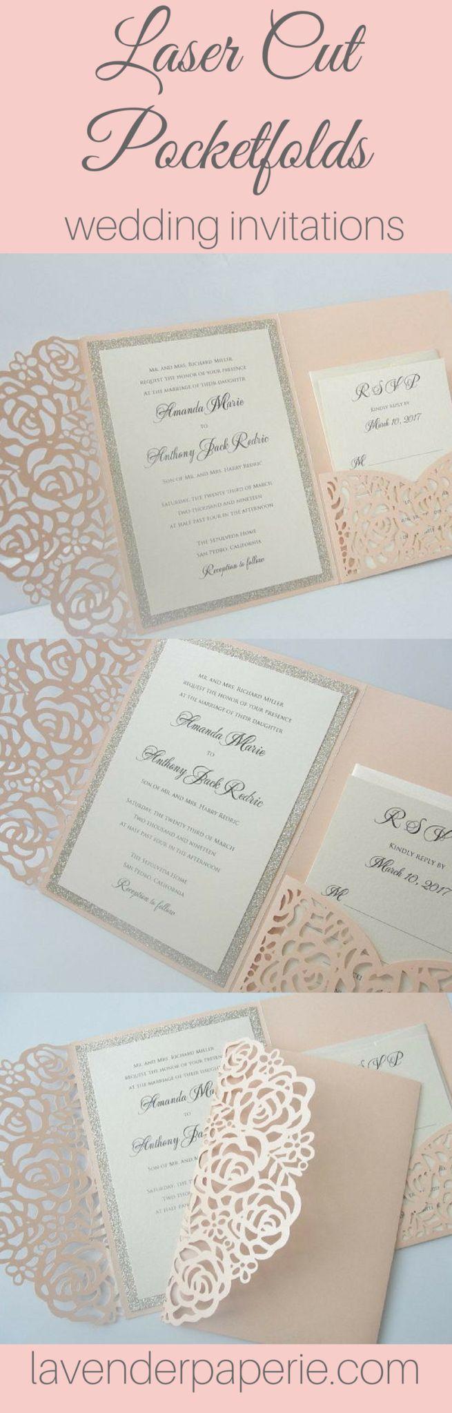 Gold color cardstock paper 5x7 - Laser Pocketfold 1 Glitter Coral Blush