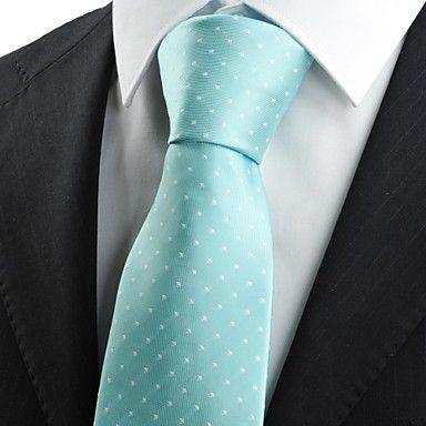 Mens Classic White Dot Mint Blue Necktie