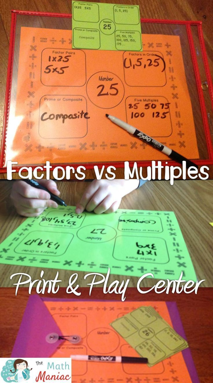 Print and play math center that will have your students engaged in finding factors and multiples and identifying numbers as prime or composite.  The option of using dry erase markers makes it super engaging for kids and it is a great way to review these important skills during other units.