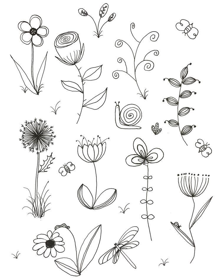 Meine ursprüngliche Kunst, inspiriert von vielen. Doodle, Blume, Strichzeichnun… – Blumenmalen
