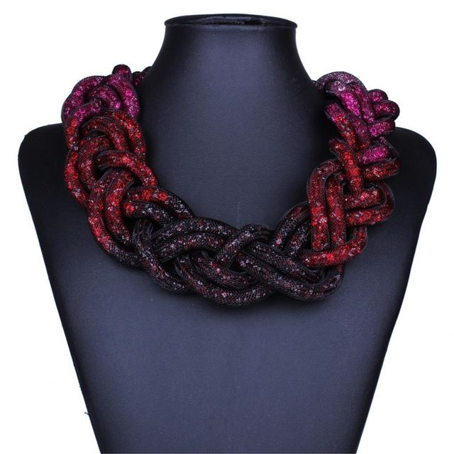 Коренастый ювелирных изделий класса люкс высокое качество кристалл сетка оборачивается твист змея ожерелье красный и фиолетовый