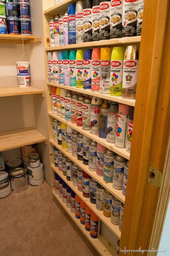 Are you a spray paint hoarder like me? I just built these DIY spray paint storage shelves that hold 117 cans for less than $40!