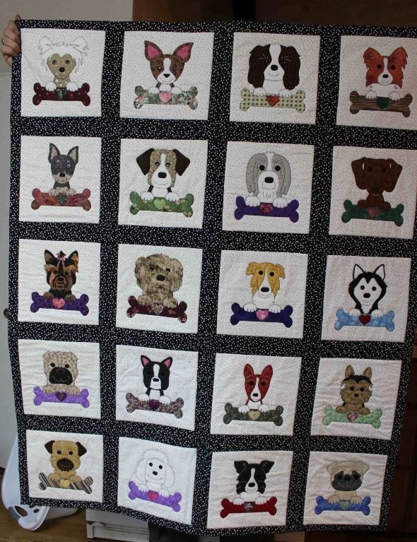 Looking for quilting project inspiration? Check out Dogs and Bones Quilt by member Hair of the Dog. - via @Craftsy