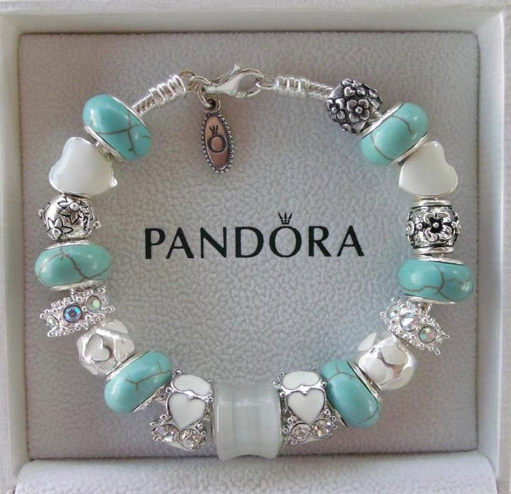 Authentic Pandora Bracelet with European Lampwork Murano glass Beads and Charms. $139.00, via Etsy.