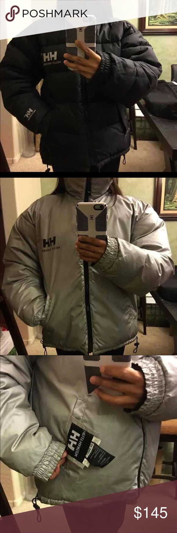 HELLY Hansen puff reversible/insulated jacket HELLY HANSEN feather down reversible puff jacket sz M but fits L too. Elastic bands doesn't stretch anymore but jacket still in great condition NO stains or rips. **Great for really cold weather and snow** Helly Hansen Jackets & Coats Puffers