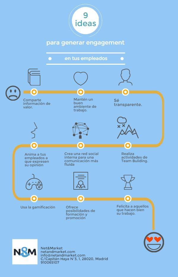 Infografía: 9 formas de crear engagement entre  tus empleados, vía @netandmarket