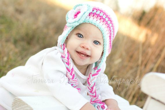 Baby winter hat crochet earflap hat girls winter hat toddler winter hat photography prop pink and white winter hat newborn photo prop