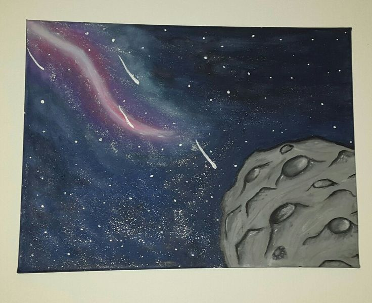 Moon and space, acrilic painting