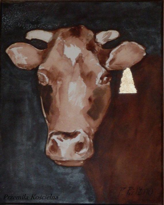 Animal art COW portrait Original painting with by CanisArtStudio