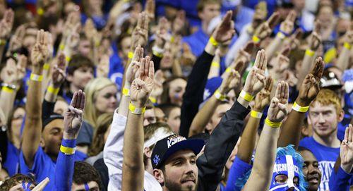 Josh Hutcherson gets the three finger salute at the University of Kentucky Basketball Game on 12/28 http://www.panempropaganda.com/movie-countdown/2013/12/29/josh-hutcherson-at-the-university-of-kentucky-basketball-gam.html/