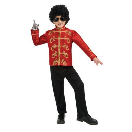 Michael Jackson Red Military Jacket Deluxe Child Halloween Costume, Boy's, Size: Small, Multicolor