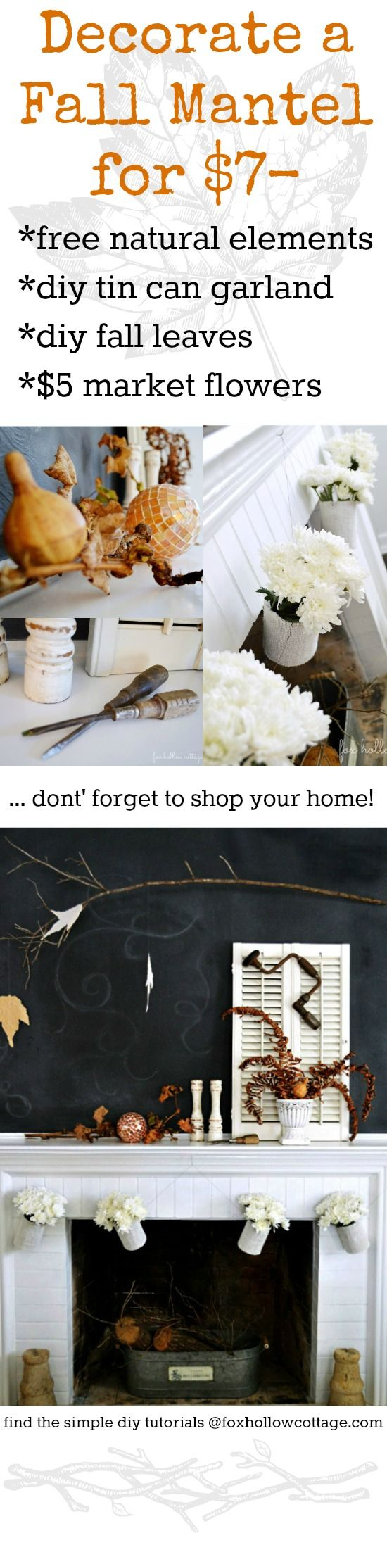 DIY Fall Mantel Decorating: Low Budget Craft and Home Decor Ideas at foxhollowcottage.com